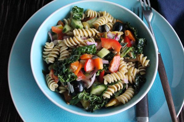 Kale Pasta Salad upclose | HipfoodieMom.com