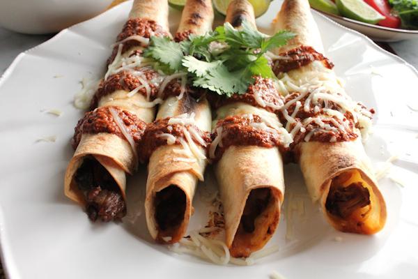 Pork Taquitos with Chocolate Mole upclose2 | HipFoodieMom.com