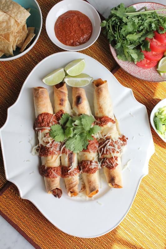 Pork Taquitos with Chocolate Mole vertical | HipFoodieMom.com