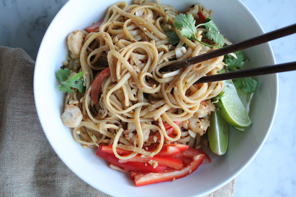 Spicy Peanut Noodles with Shrimp and chopsticks | HipFoodieMom.com