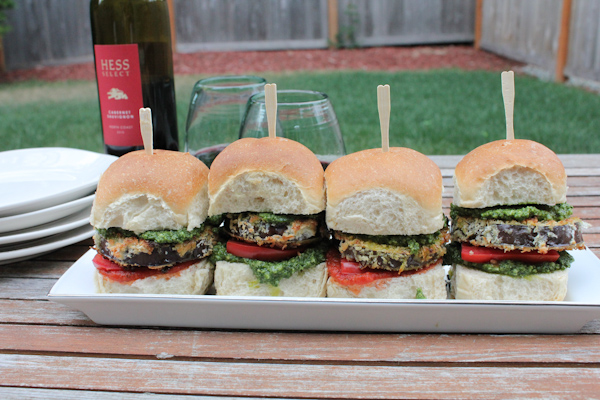 Eggplant Sliders with Arugula Pesto | HipFoodieMom.com