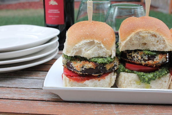 Eggplant Sliders with Arugula Pesto_closeup1 | HipFoodieMom.com