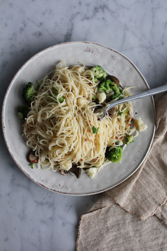 Peppery Broccoli with Angel Hair Pasta!! Angel hair pasta, broccoli, cremini mushrooms, feta cheese and more. So good and so easy to make!