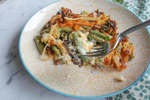 Green Bean Casserole bite | HipFoodieMom.com
