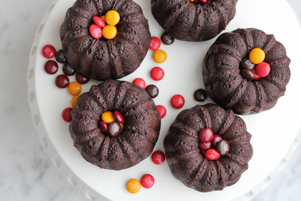 Chocolate mini bundt cakes with a surprise inside! Fill the inside with chocolate covered candies, chopped fruit, chocolate frosting or peanut butter! Topped with more chocolate frosting, these are a chocolate lover's dream!