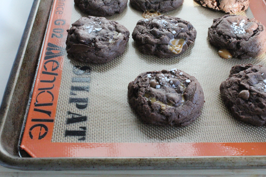 Dulce de Leche Double Chocolate Chip Cookies on Silpat | HipFoodieMom.com