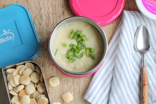 Leek and Potato Soup in LunchBot | HipFoodieMom.com