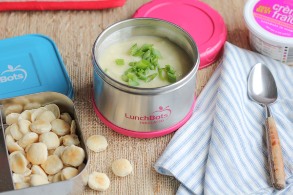 Leek and Potato Soup in LunchBot2 | HipFoodieMom.com