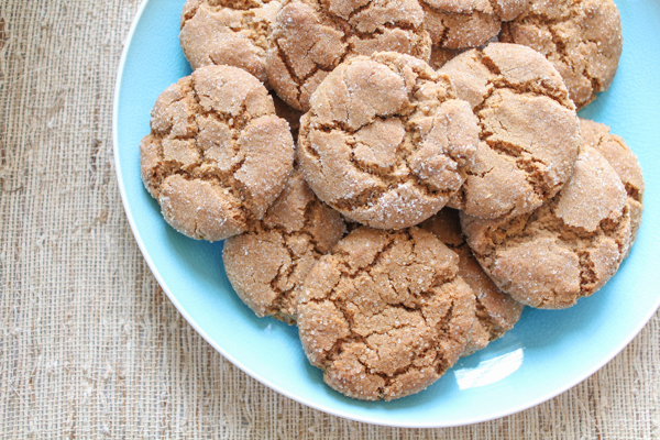 Gingersnaps!! Perfectly chewy on the inside and slightly crispy around the outside edges. These are the perfect holiday cookies! Make some!