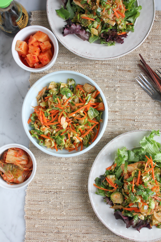 Asian Sesame Tofu Salad with a Brussels Sprouts Kimchi Slaw with Lemon Dressing #vegan #asianfood #salad