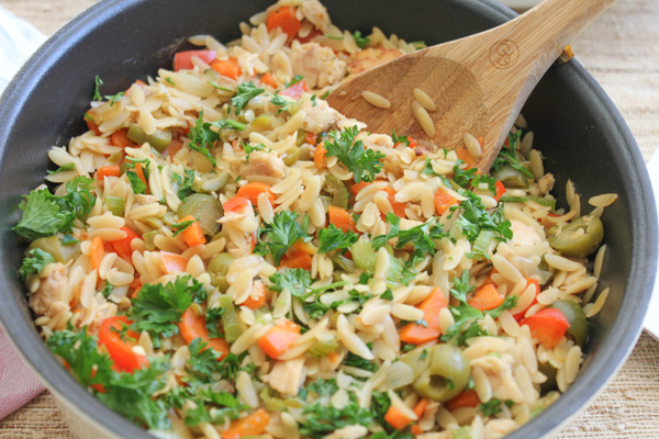 Need something quick and healthy for dinner? Try my Orzo with Tuna! Uses albacore tuna and chopped veggies. Have dinner on the table in under 30 minutes!