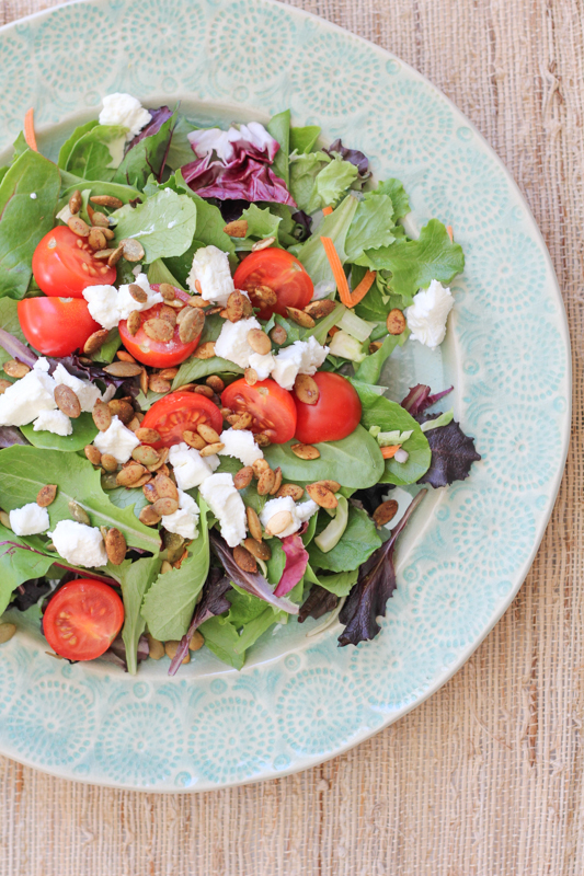 Simple Goat Cheese Salad_predressing | HipFoodieMom.com