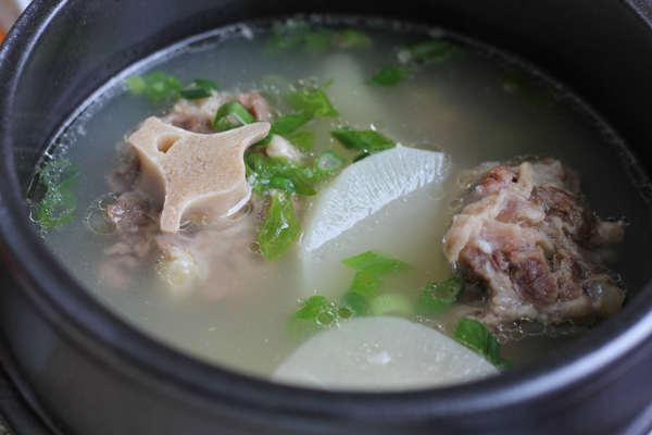Korean Oxtail soup kkori gomtang - closeup