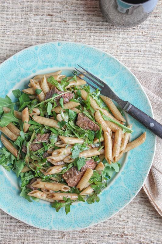 Penne Salad with Beef and Arugula_vert_main1 | HipFoodieMom.com