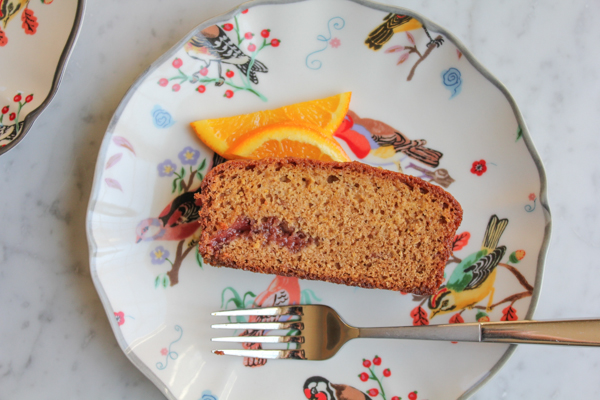 Strawberry and Orange Quick Bread with Candied Orange Marmalade_slice | HipFoodieMom.com