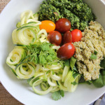 Veggie Salad Trio with Zucchini Noodles and Pesto for #SundaySupper