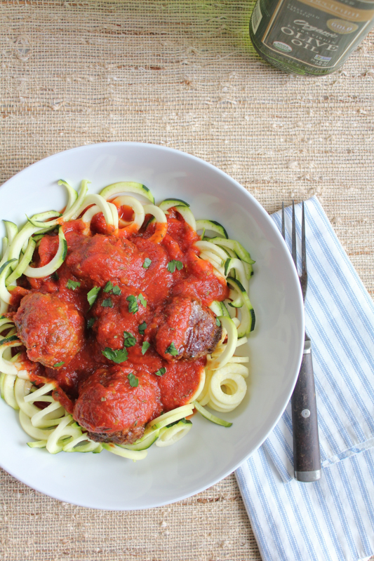 Zucchini Noodles with Meatballs. .  a great, delicious low-carb option for the entire family! My kids loved this! #zucchininoodles #zoodles #spiralizer