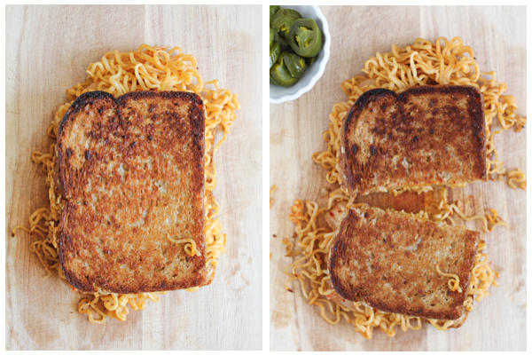 Kimchi Ramen Grilled Cheese Sandwich!!! Combining two of my favorite things, this grilled cheese sandwich marries ramen, kimchi and cheddar cheese! If you're a fan of Shin Ramen, you need to try this!