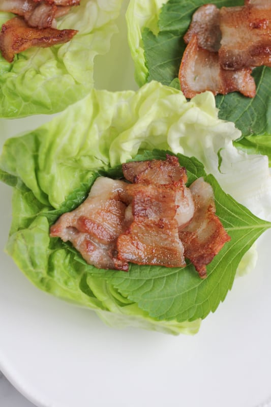 Pork belly in lettuce cups for Pork Belly Lettuce Wraps.
