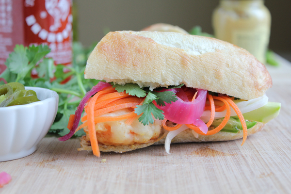 Shrimp Tempura Banh Mi!! Shrimp tempura, pickled onions, veggies and everything else you get in traditional Banh Mi! You have to try this!