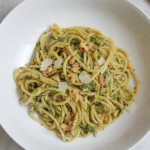 Spaghetti with Asparagus Pesto and Walnuts