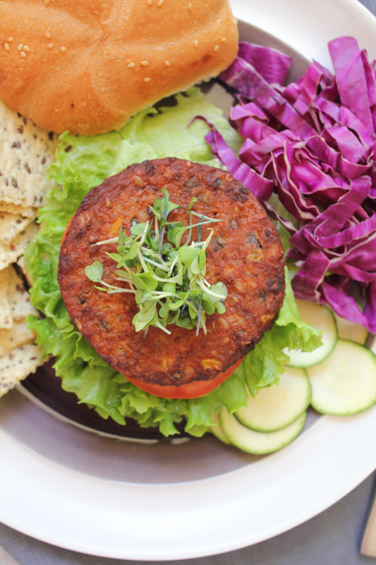MorningStar Farms Spicy Black Bean Burger_closeup by Hip Foodie Mom