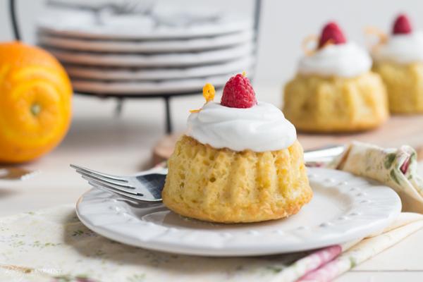 Orange Raspberry Mini Bundt Cakes