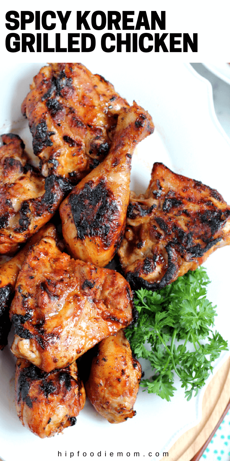 Fire up the barbie! This Spicy Korean Grilled Chicken recipe is delicious! You need this recipe for summer. #koreanchicken #grilledchicken #grilling #bbq #spicygrilledchicken #spicykoreanchicken