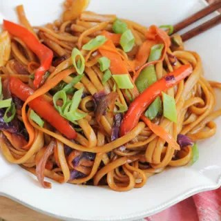 bowl of vegetable lo mein