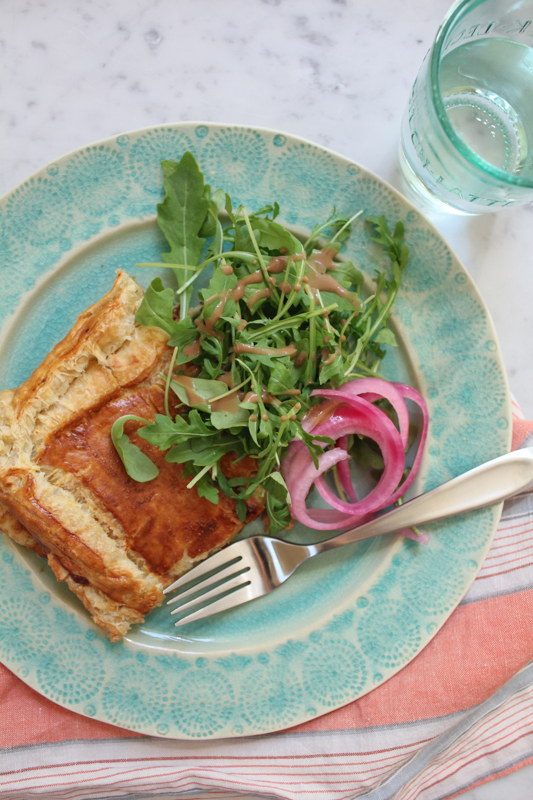 Baked Ham and Cheese Tart with Arugula