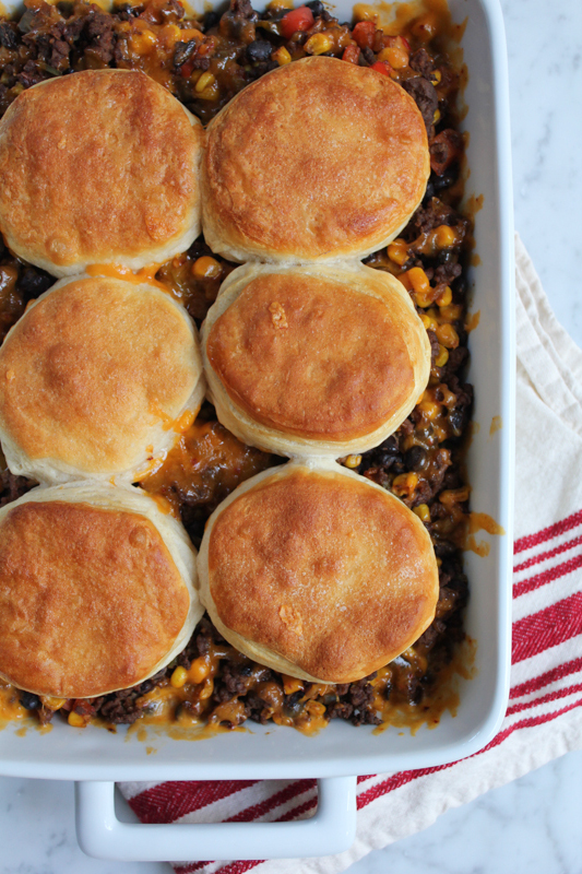 Change up Taco Night with this Mexican Biscuit Casserole!