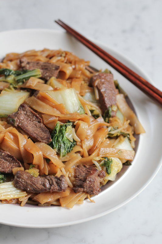 Cantonese dinner - chow fun noodles with vegetables and beef short rib meat