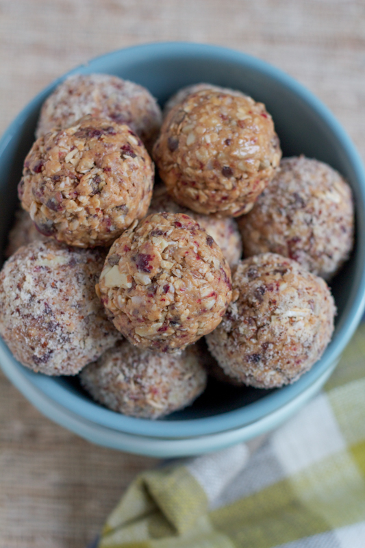 No Bake Mighty Maple Energy Bites. . packed with almonds, dried cranberries, flax seed, sunflower nuts and much more, these are just the burst of energy you need to keep you going throughout the day!