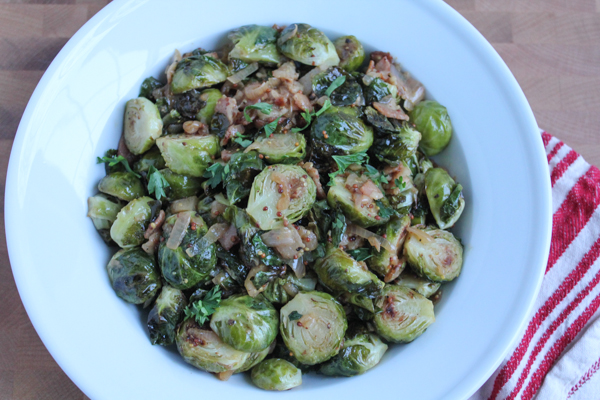 Roasted Brussels Sprouts with White Wine Shallot and Whole Grain Dijon Mustard Sauce