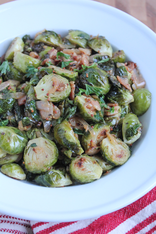 Roasted Brussels Sprouts with White Wine Shallot Sauce