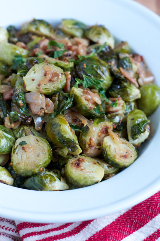 Roasted Brussels Sprouts with White Wine Shallot and Whole Grain Dijon Mustard Sauce. You need this on your Thanksgiving table!