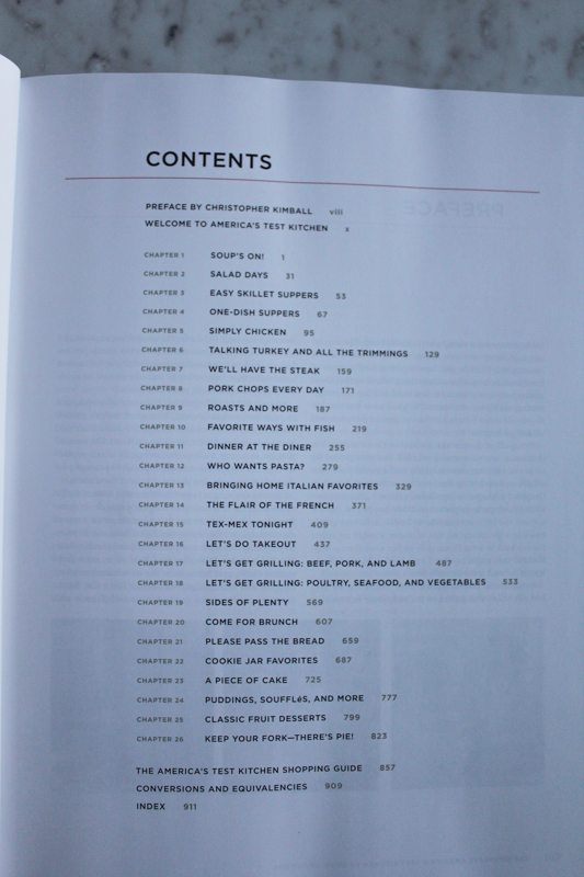 cookbook table of contents