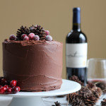 beautiful chocolate cake on white cake stand
