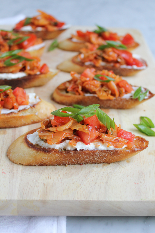 Looking for a great appetizer recipe? Try this fabulous Kimchi Bruschetta!! #appetizer #appetizerrecipe #recipe #newyearseve