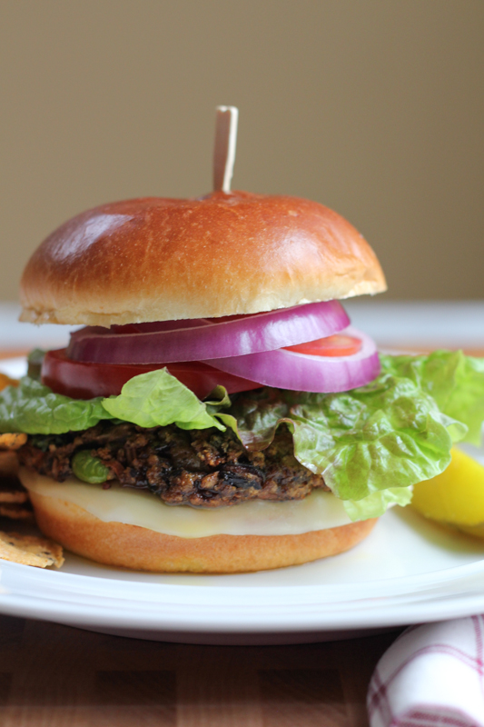 Black Bean Edamame Burgers. The perfect blend of mushrooms, grains, vegetables, and bright green edamame. This burger has all the best flavors, textures, and spices and is tender and delicious!