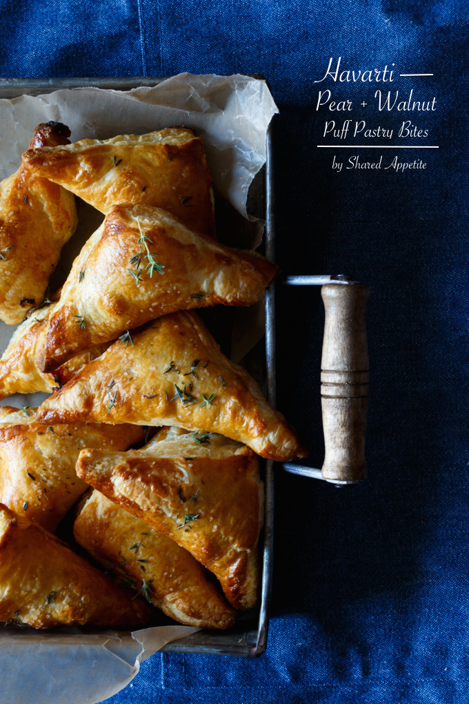HAVARTI, PEAR, AND WALNUT PUFF PASTRY BITES from Shared Appetite!!
