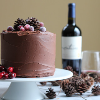 beautiful homemade chocolate cake with red wine chocolate frosting