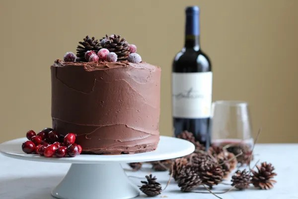Rich, fudgy, chocolatey goodness . . . with a hint of Merlot. You need to make this homemade chocolate cake. #homemadechocolatecake #redwine #holidays #cakerecipe #chocolatecake