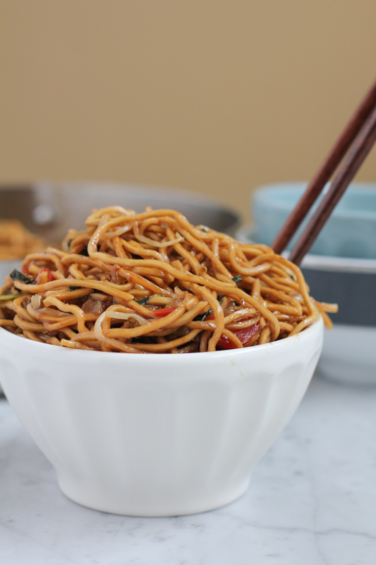 simple Asian meal of noodles with vegetables