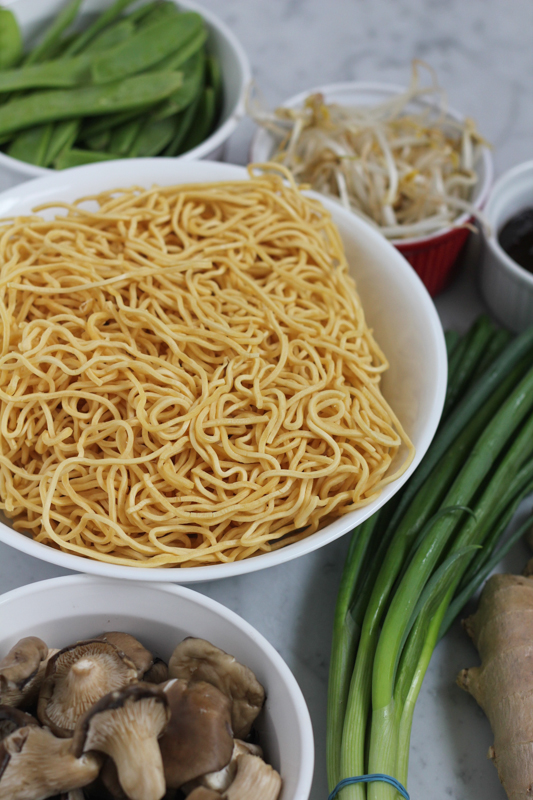bowls of ingredients to make an easy chow mein recipe