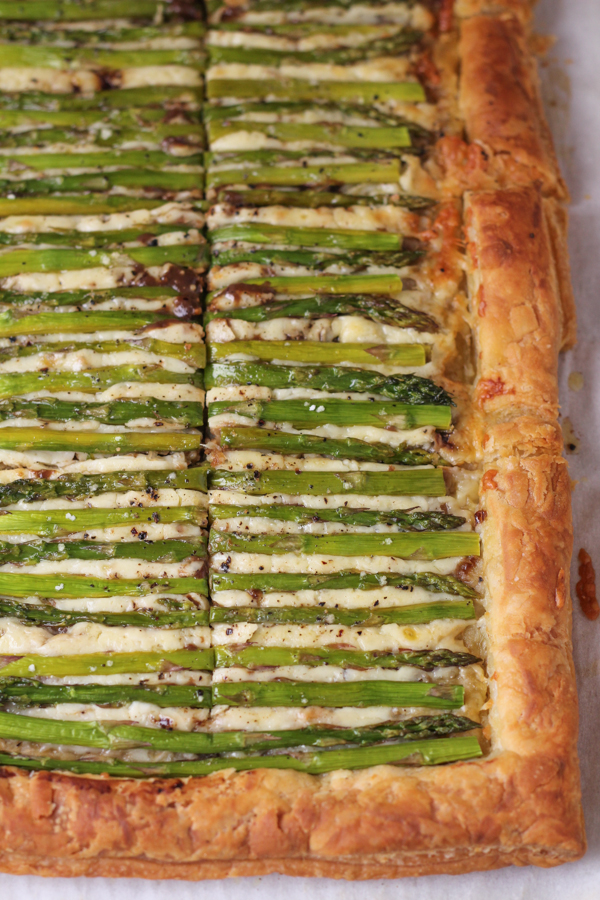 Sliced Asparagus Gruyere Tart.