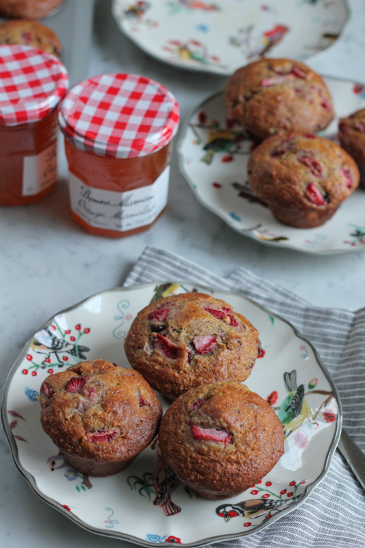 Strawberry Orange Hazelnut Chocolate Chip Muffins. Sweet and delicious with hints of strawberry and orange. If you've never tried this combo, you need to! PLUS, enter to win $3,000 cash! #muffins #baking #brunch #mothersday #bonnemaman #sweeps #spon