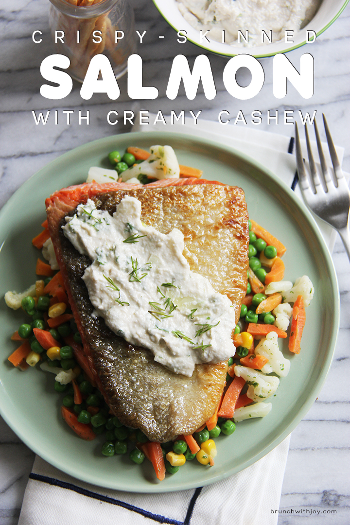 Crispy Skinned Salmon with a Creamy Cashew Dressing! For the dressing, just blend everything up in your blender! Couldn't be any easier! So delicious you've got to try this!! @brunchwithjoy