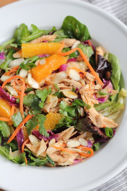 A bowl of Chinese chicken salad.