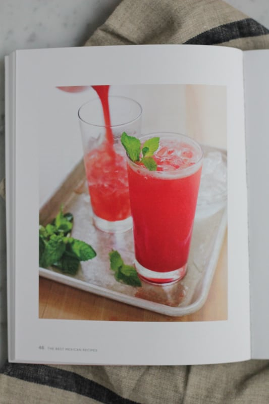 Page from America's Test Kitchen's The Best Mexican Recipes with photo of a beverage in glasses.